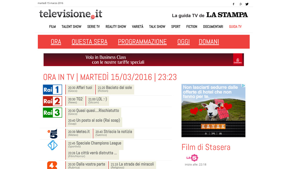 La Stampa - Guida TV